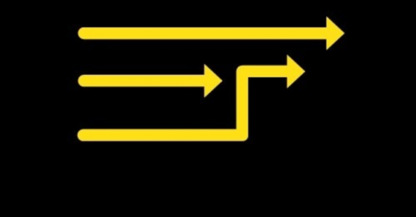 A series of arrows pointing in various directions. Yellow on a black background.