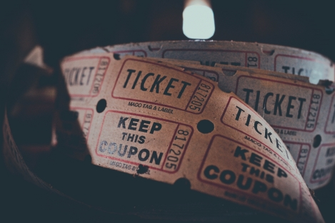 A roll of paper tickets